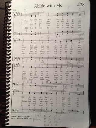 Abide with Me - you can see chords in pencil and for my arrangement at the bottom